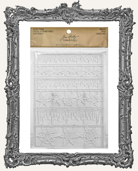 Tim Holtz - Idea-ology - Yuletide Alpha Parts - Frozen Clear Icicle Borders and Snowflakes