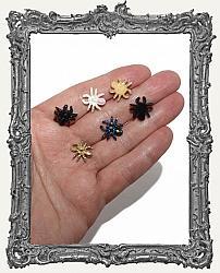Mini Textured Resin Glitter Jewel Spider Flat Back Cabochon - Set of 6