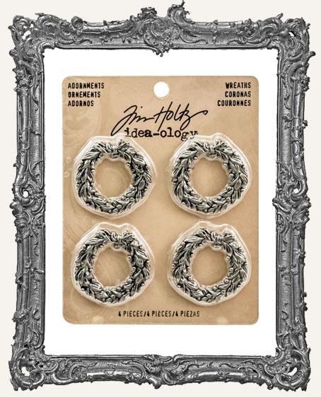 Tim Holtz - Idea-ology - Yuletide Metal Wreath Adornments 4 Per Pkg