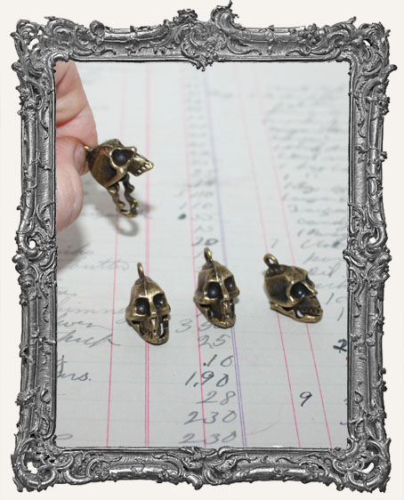 Antique Brass Articulated Skull Charms - Set of 2