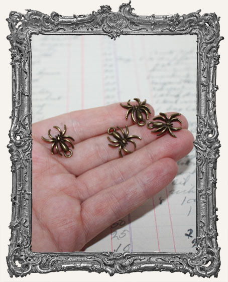 Antique Brass Tiny Spider Charms - Set of 4