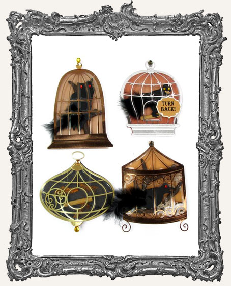 Birds in Cages Dimensional Embellishments - 4 Pieces