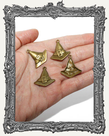Antique Brass Witch Hat Charms - Set of 4