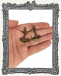 Large Antique Brass Anchor Charms - Set of 2