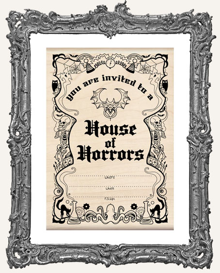 Horrors Invitation Wood Mounted Halloween Stamp