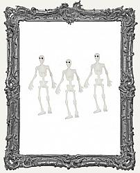 Miniature 2 Inch Tall Plastic Skeletons - Set of 3