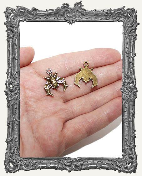 Detailed Antique Brass Bat Charms - Set of 2