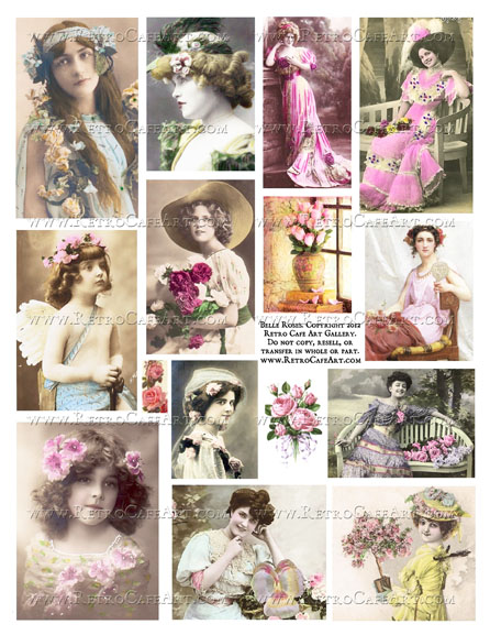 Belle Roses Collage Sheet