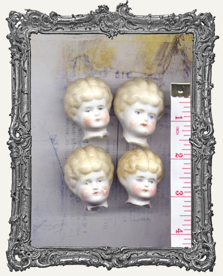 One Antique Hand-painted China German Doll Head BLONDE HAIR MEDIUM 1.25 - 1.5 Inch
