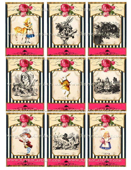 Alice In Wonderland ATC Collage Sheet by Cassandra VanCuren - CV1