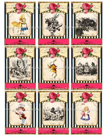 Alice In Wonderland ATC Collage Sheet by Cassandra VanCuren - CV1