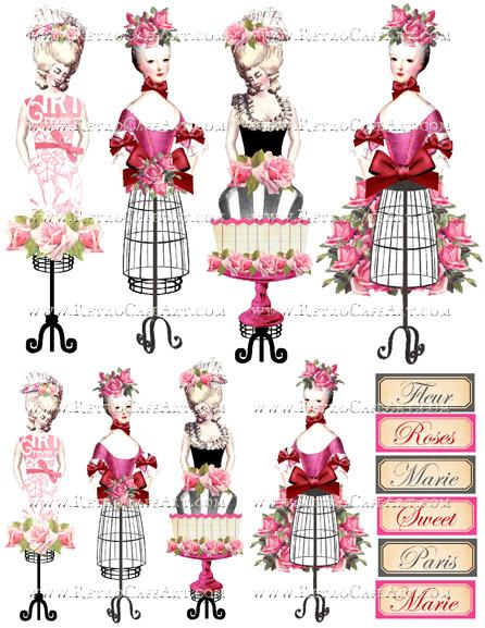 Rosey Marie Antoinette Pink Collage Sheet by Cassandra VanCuren - CV10