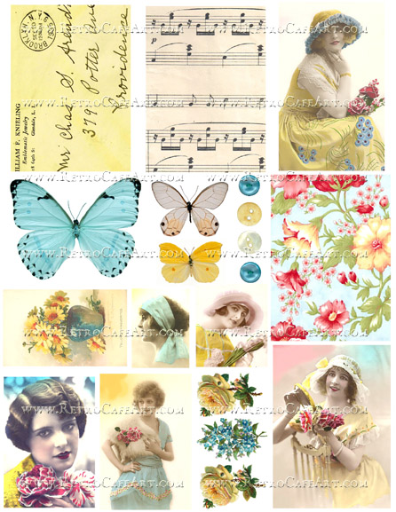 Aqua and Yellow Collage Sheet by Cassandra VanCuren - CV113