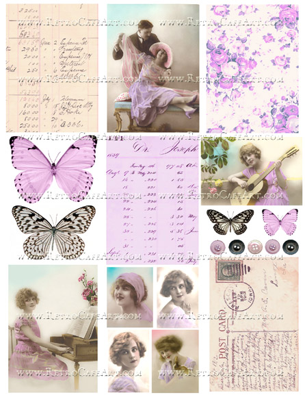 Lavender Collage Sheet by Cassandra VanCuren - CV114