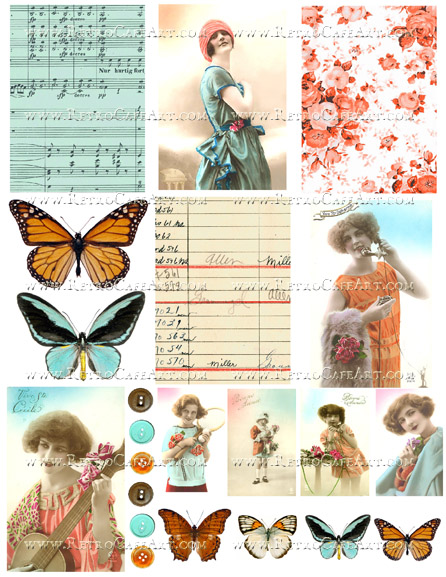 Aqua and Orange Collage Sheet by Cassandra VanCuren - CV115