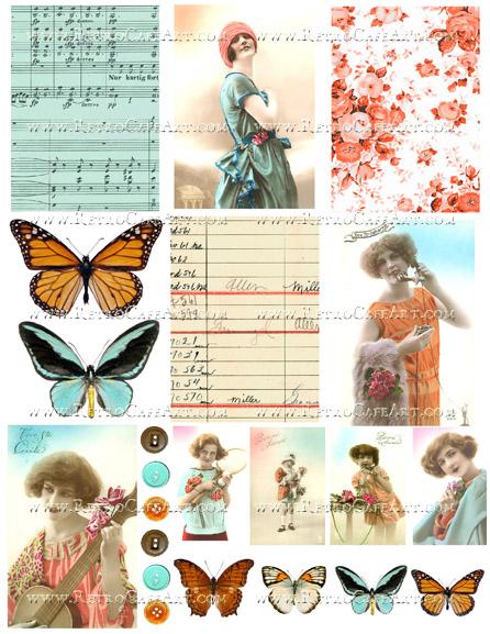 Aqua and Orange Collage Sheet by Cassandra VanCuren - CV115