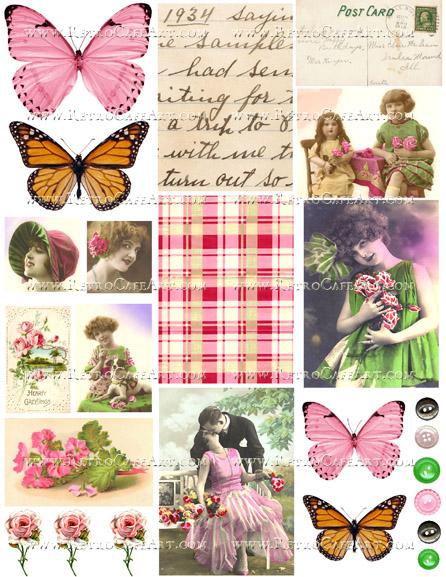Pink and Green Collage Sheet by Cassandra VanCuren - CV126