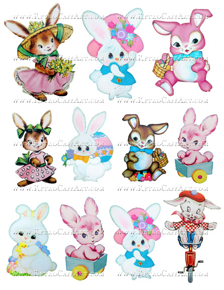 Fluffy Bunnies Collage Sheet by Cassandra VanCuren - CV14