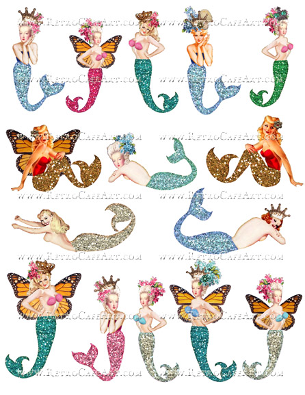 Glitter Mermaids Collage Sheet by Cassandra VanCuren - CV15