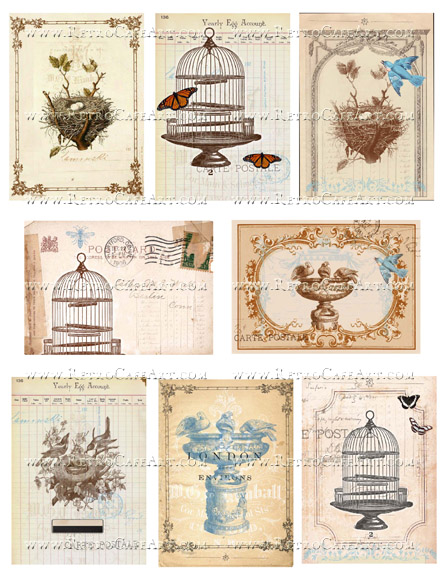 Nesting ATC Collage Sheet by Cassandra VanCuren - CV16