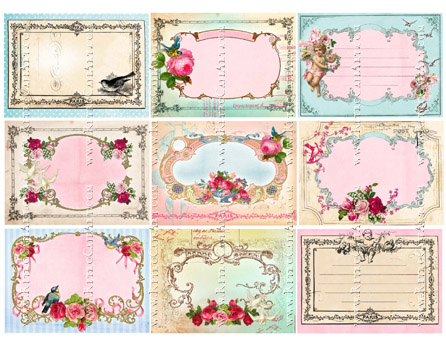 Shabby Bird ATC Backgrounds Collage Sheet by Cassandra VanCuren - CV17