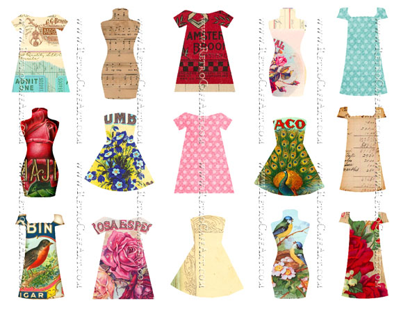 Doll Dresses and Bodies Collage Sheet by Cassandra VanCuren - CV22