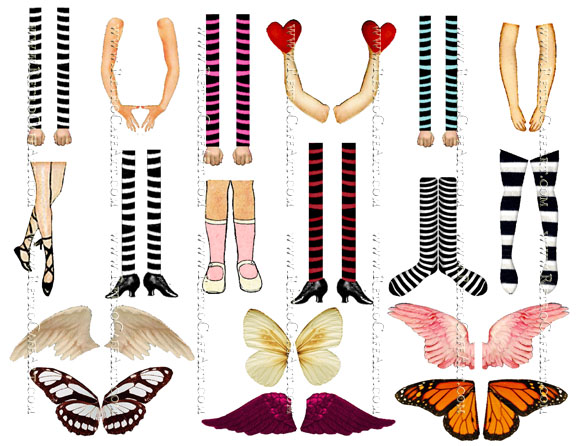 Doll Arms, Legs, and Wings Collage Sheet by Cassandra VanCuren - CV23