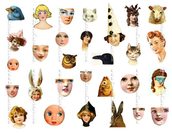 Doll Heads Collage Sheet by Cassandra VanCuren - CV24