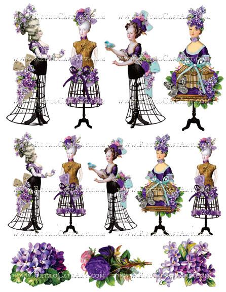 Rosey Marie Antoinette Purple Collage Sheet by Cassandra VanCuren - CV30