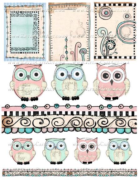 Altered Owls Collage Sheet by Cassandra VanCuren - CV31