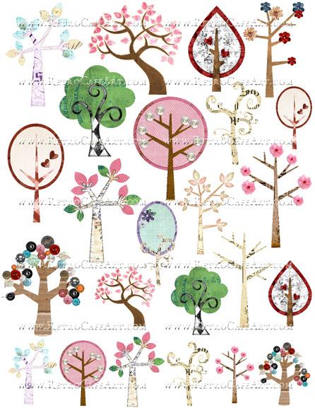 Altered Trees Collage Sheet by Cassandra VanCuren - CV32