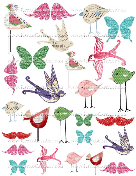 Altered Birds and Wings Collage Sheet by Cassandra VanCuren - CV33