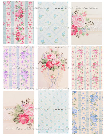 Vintage Wallpaper ATC Backgrounds Collage Sheet by Cassandra VanCuren - CV35