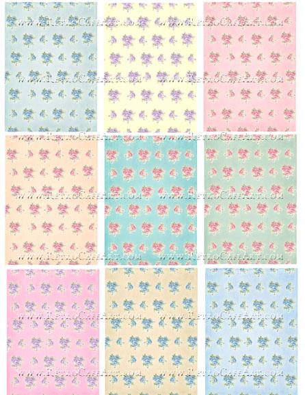 Shabby Rose ATC Backgrounds Collage Sheet by Cassandra VanCuren - CV36