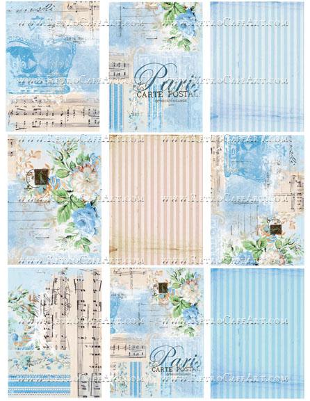 Paris Blue ATC Backgrounds Collage Sheet by Cassandra VanCuren - CV39