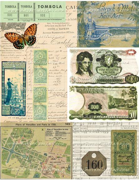 Green Ephemera Background Collage Sheet by Cassandra VanCuren - CV41