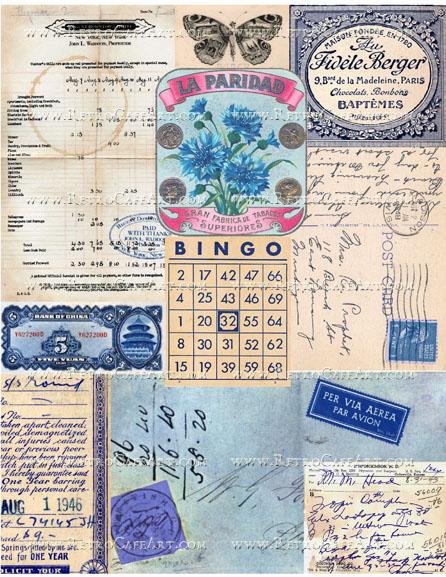 Blue Ephemera Background Collage Sheet by Cassandra VanCuren - CV42
