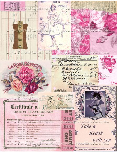 Pink Ephemera Background Collage Sheet by Cassandra VanCuren - CV43