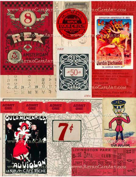 Red Ephemera Background Collage Sheet by Cassandra VanCuren - CV44