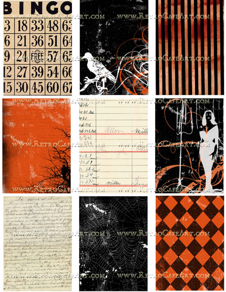 ATC Halloween Backgrounds Collage Sheet by Cassandra VanCuren - CV45
