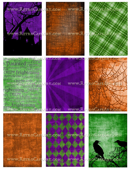 ATC Spooky Halloween Backgrounds Collage Sheet by Cassandra VanCuren - CV47