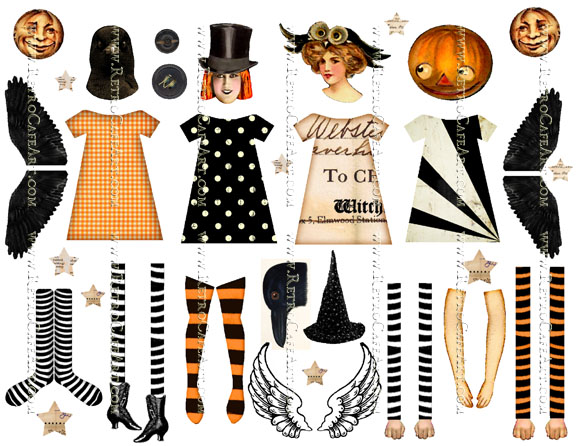 Halloween Dolls Collage Sheet by Cassandra VanCuren - CV50