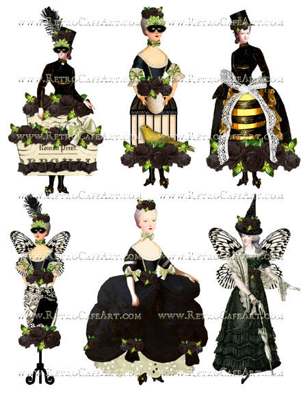 Rosey Marie Antoinette Black Collage Sheet by Cassandra VanCuren - CV51