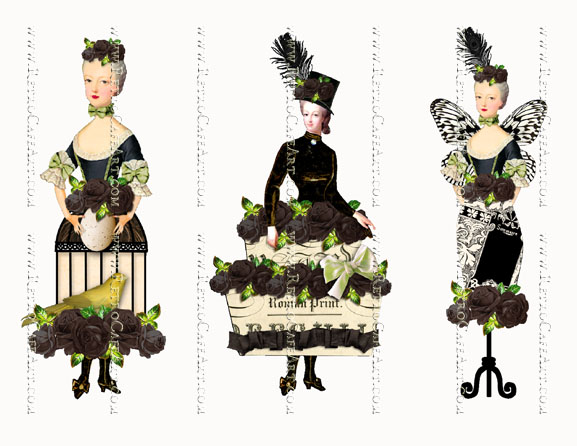 Rosey Marie Antoinette Black Large Collage Sheet by Cassandra VanCuren - CV53