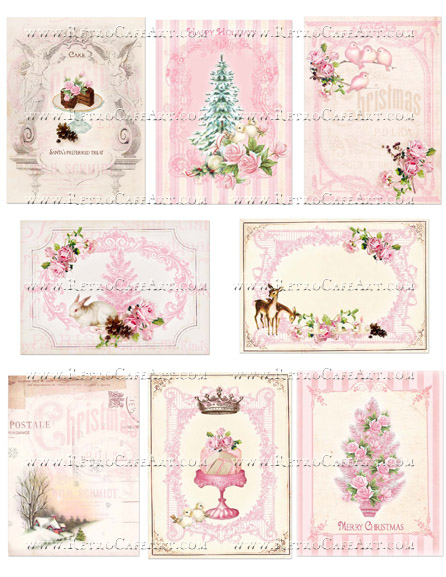Christmas Pink ATC Backgrounds Collage Sheet by Cassandra VanCuren - CV58