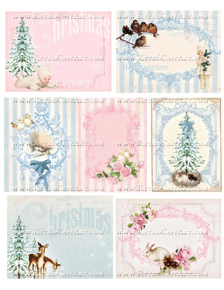 Christmas Pink and Blue Collage Sheet by Cassandra VanCuren - CV59