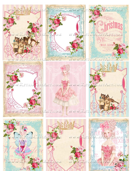 Holly Jolly ATC Backgrounds Collage Sheet by Cassandra VanCuren - CV64