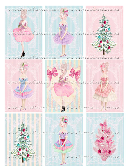 Holly Jolly II ATC Backgrounds Collage Sheet by Cassandra VanCuren - CV65