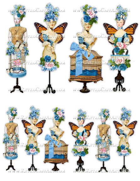 Rosey Marie Antoinette Blue Collage Sheet by Cassandra VanCuren - CV7
