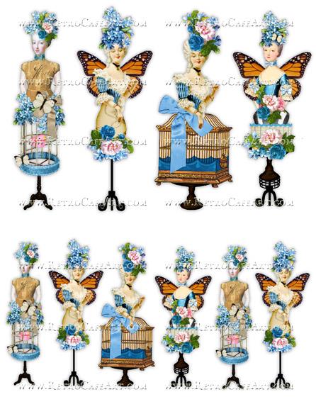 Rosey Marie Antoinette Blue Collage Sheet by Cassandra VanCuren - CV7